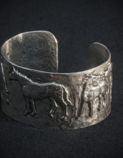 Solid Sterling Silver Bangle - Horses